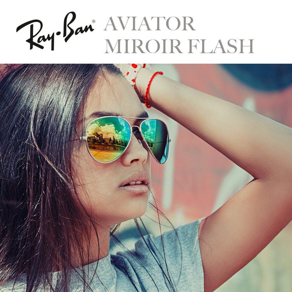 ray ban aviator miroir bleu
